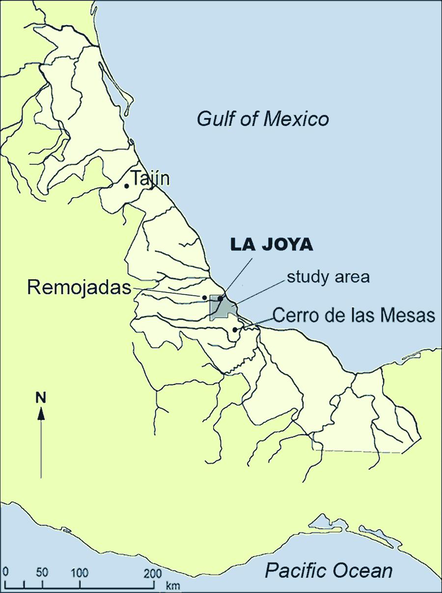 Fig. 1: Location of La Joya in the Lower Cotaxtla basin in the central part of the state of Veracruz (Daneels 2007–2008)