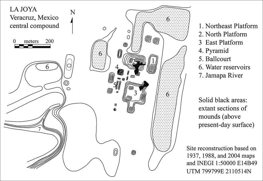 Fig. 2: Map of the La Joya site, Central Veracruz, Mexico.