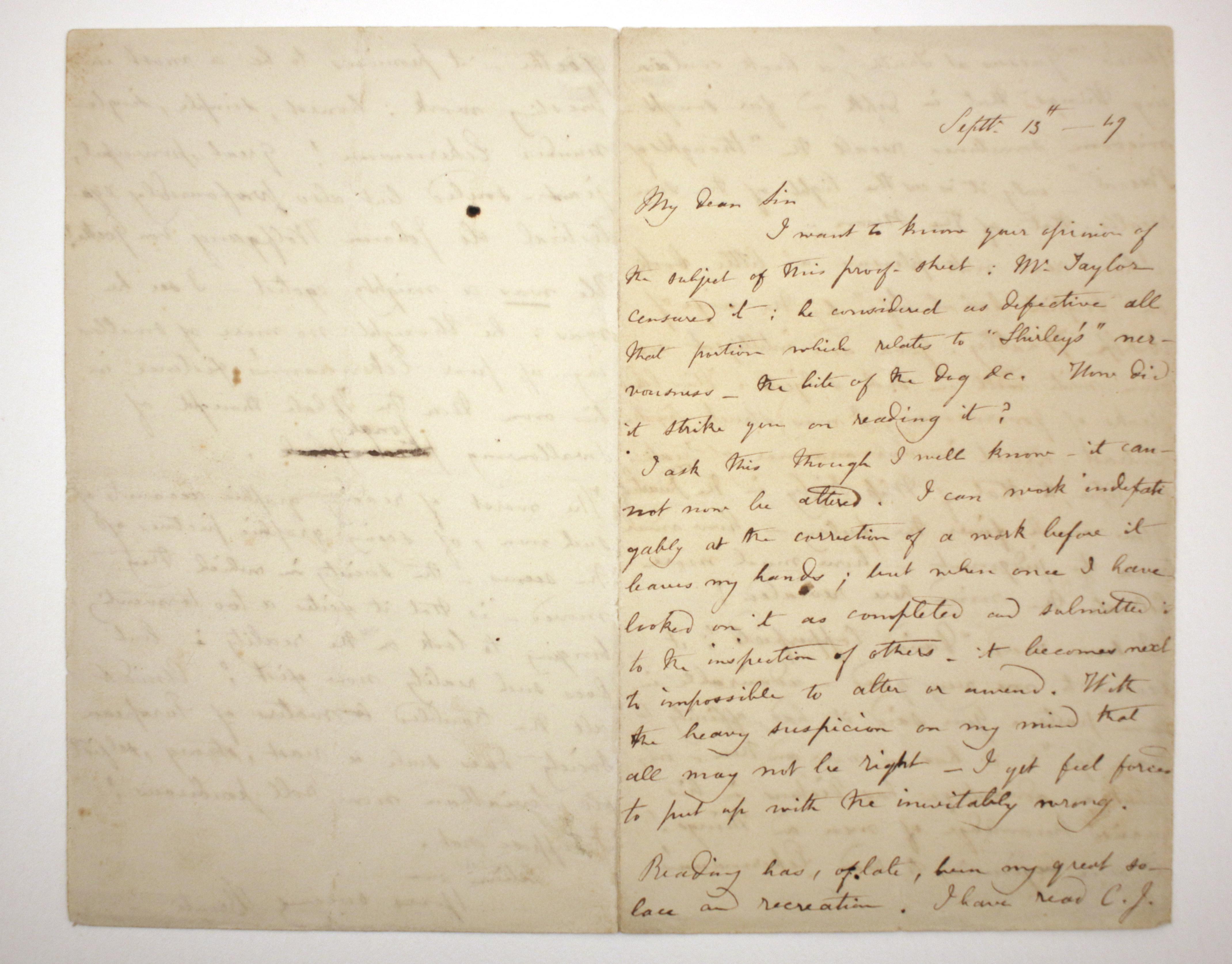 Brontë Letter, September 13, 1849, 1