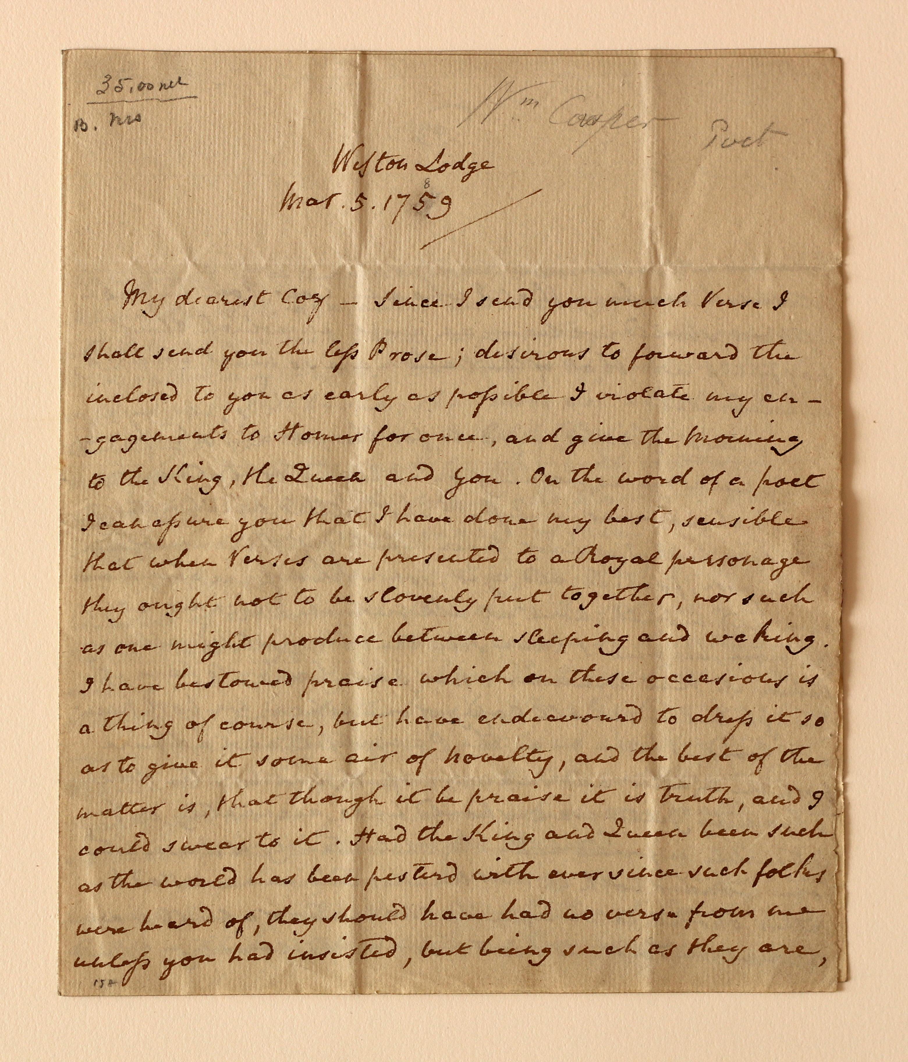 Cowper Letter 1