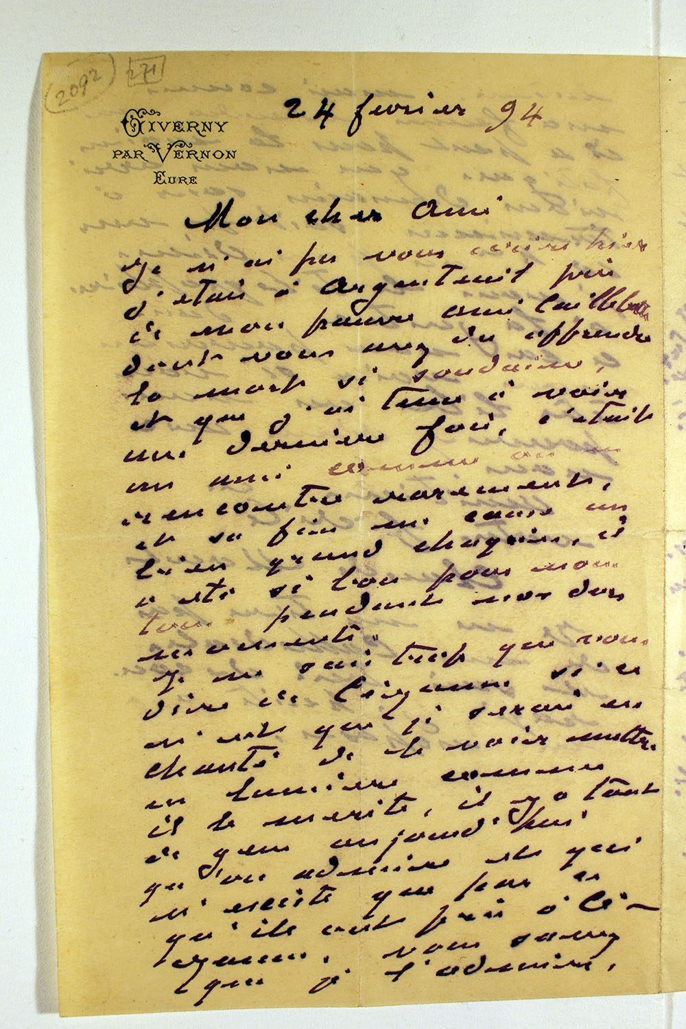 Page one of letter from Claude Monet to unknown recipient, February 24, 1894