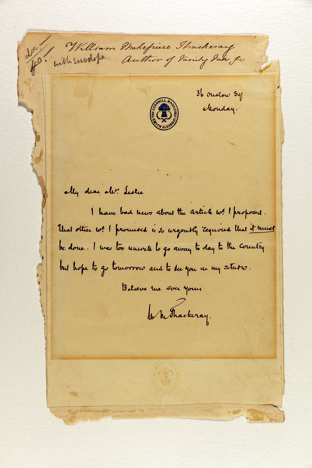 Letter from William Makepeace Thackeray to Harriet Leslie, February 27, 1860