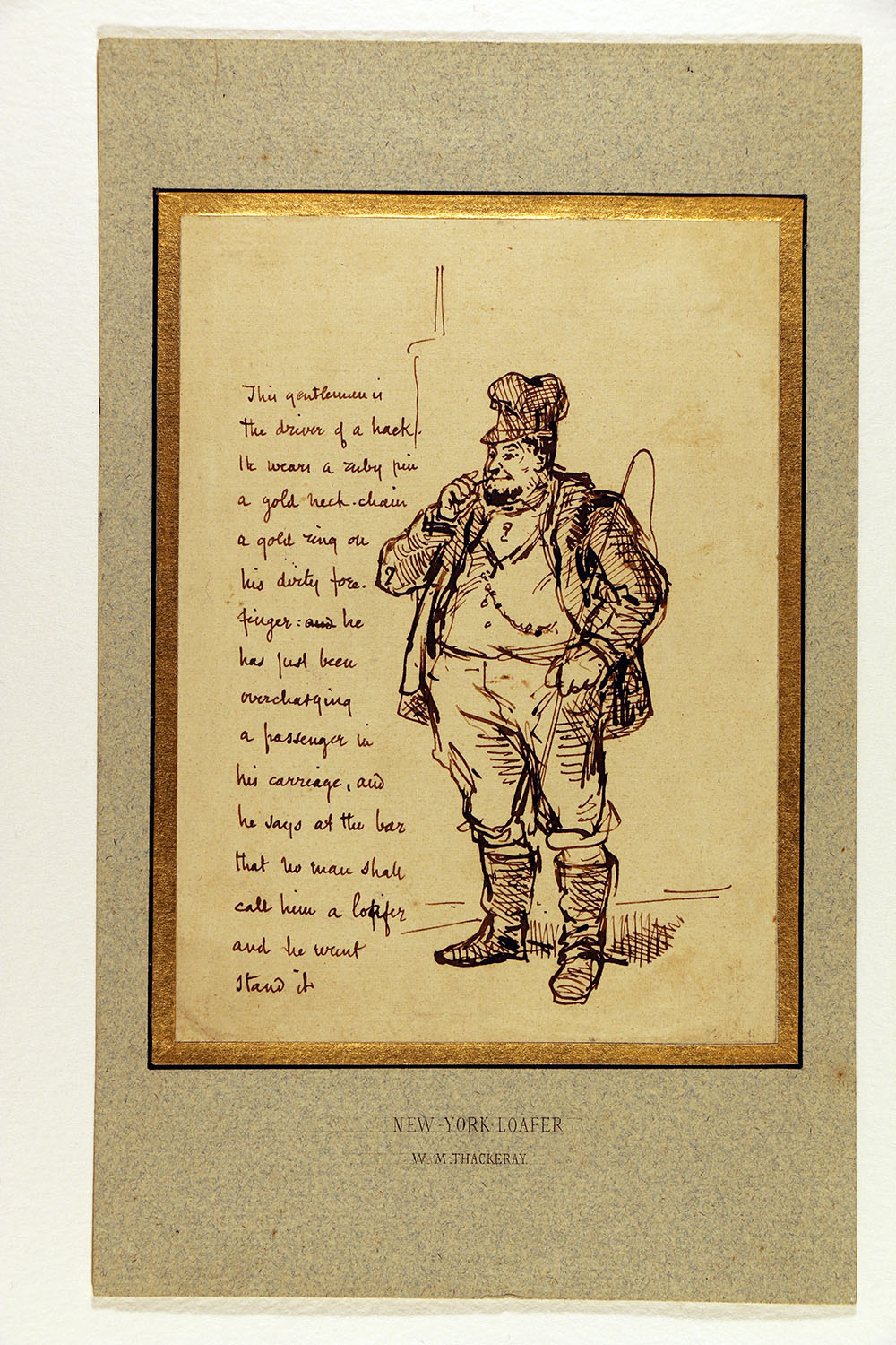 """New York Loafer"" caricature by William Makepeace Thackeray."
