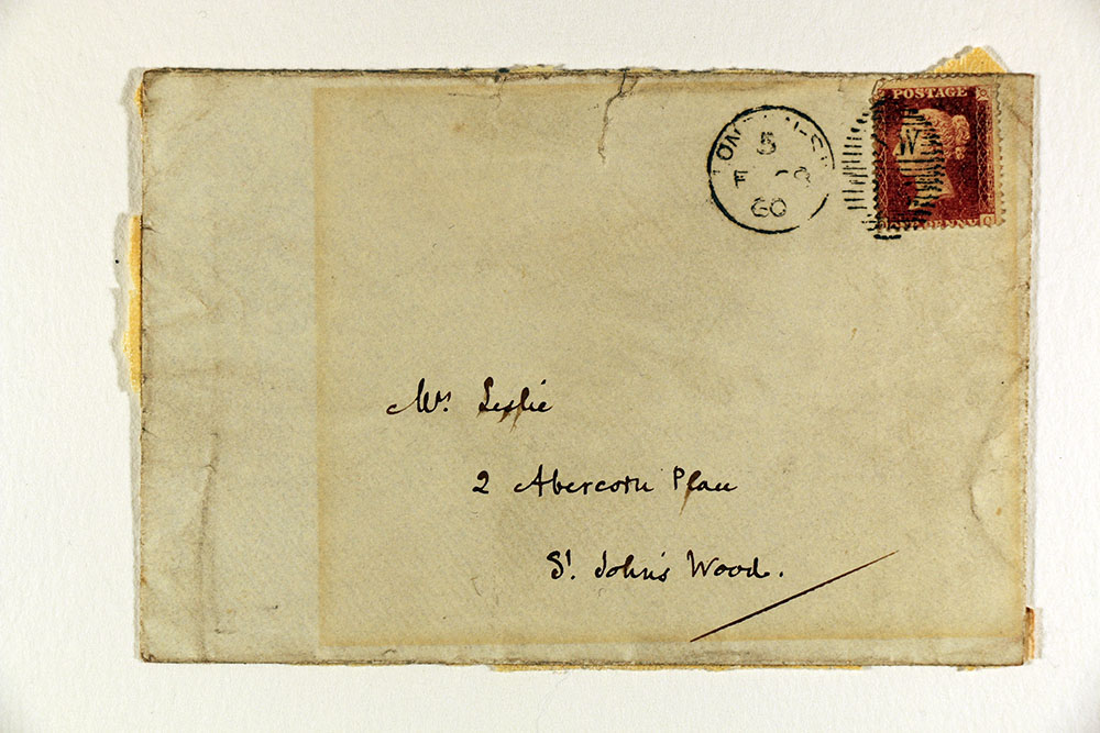 Front of envelope accompanying letter from William Makepeace Thackeray to Harriet Leslie, February 27, 1860