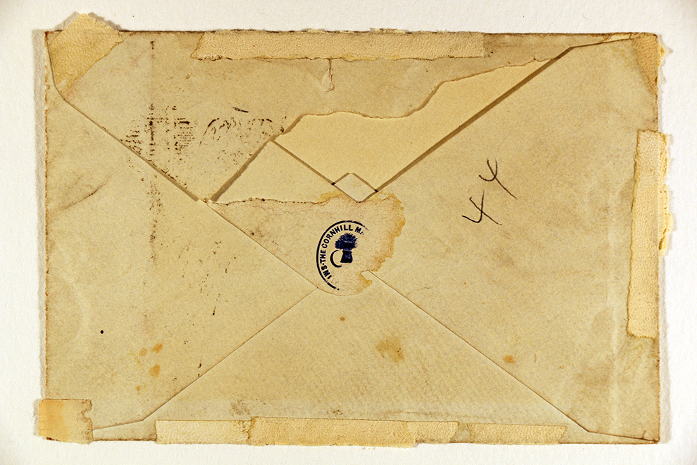Back of envelope accompanying letter from William Makepeace Thackeray to Harriet Leslie, February 27, 1860