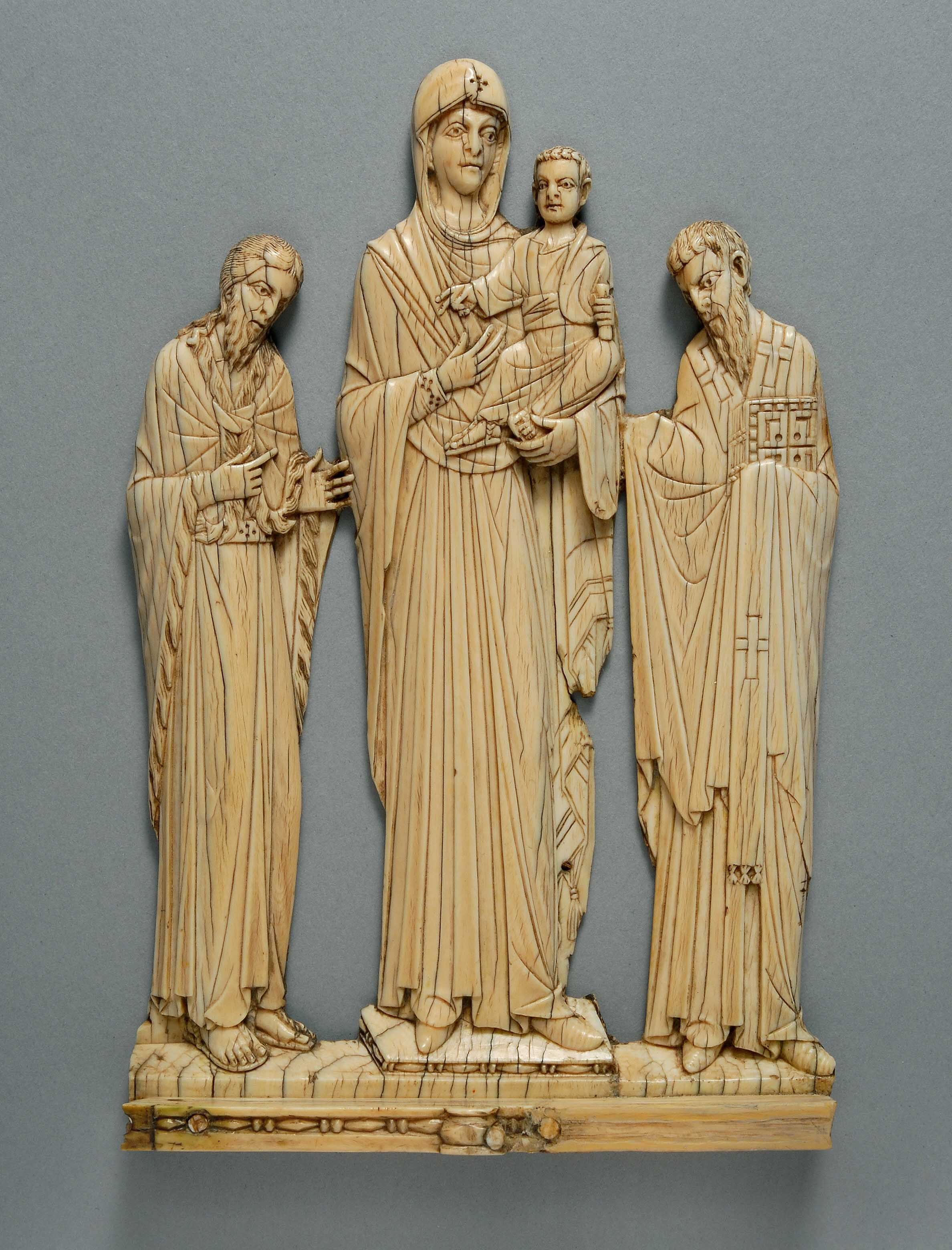 BZ.1939.8, Virgin Hodegetria, St. John the Baptist, and St. Basil from a Plaque