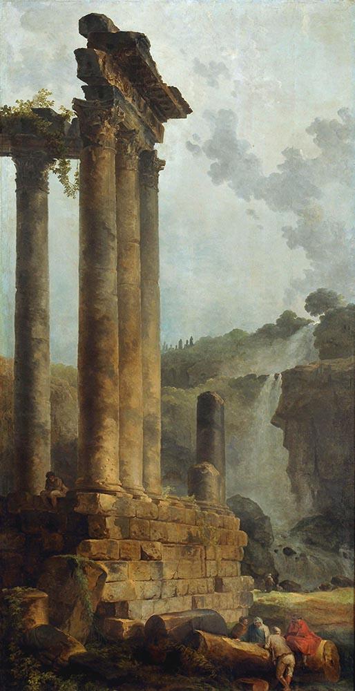 HC.P.1922.04.(O), Temple of Vespasian and Titus and the Cascade at Tivoli