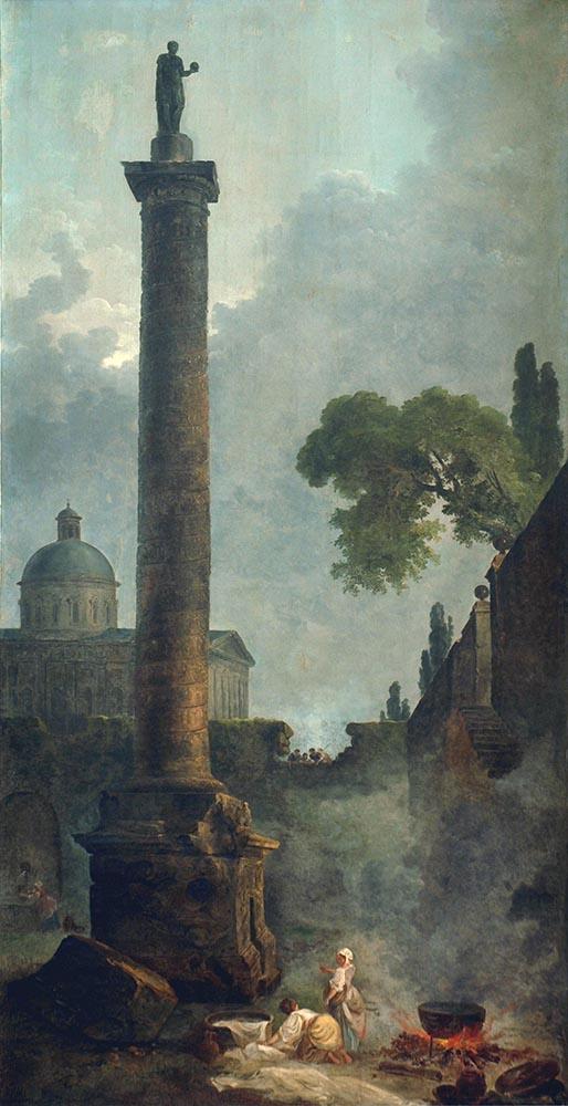 HC.P.1922.05.(O), Column of Trajan and a Renaissance Basilica Church