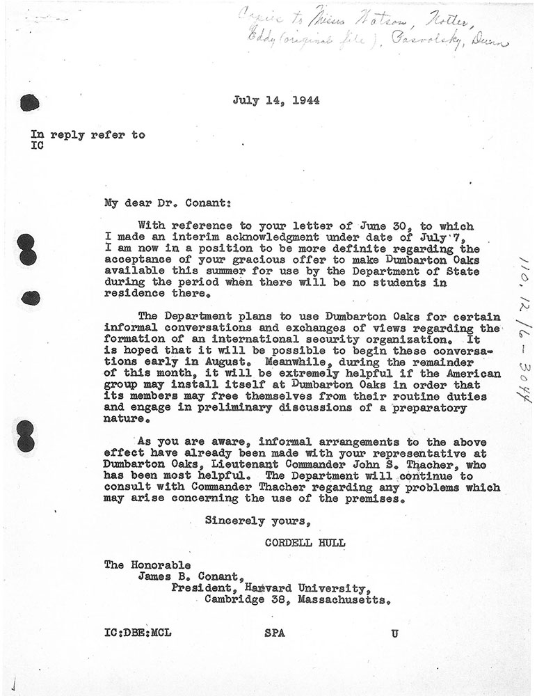 Letter from Cordell Hull to James B. Conant, 14 July 1944