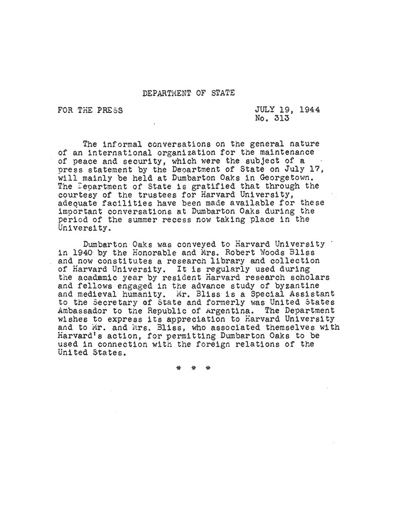 Department of State press release No. 313, 19 July 1944