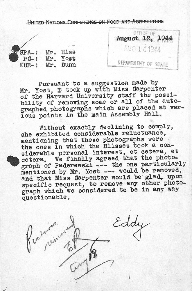 Memorandum from Donald B. Eddy, Department of State, regarding the removal of photographs, 12 August 1944