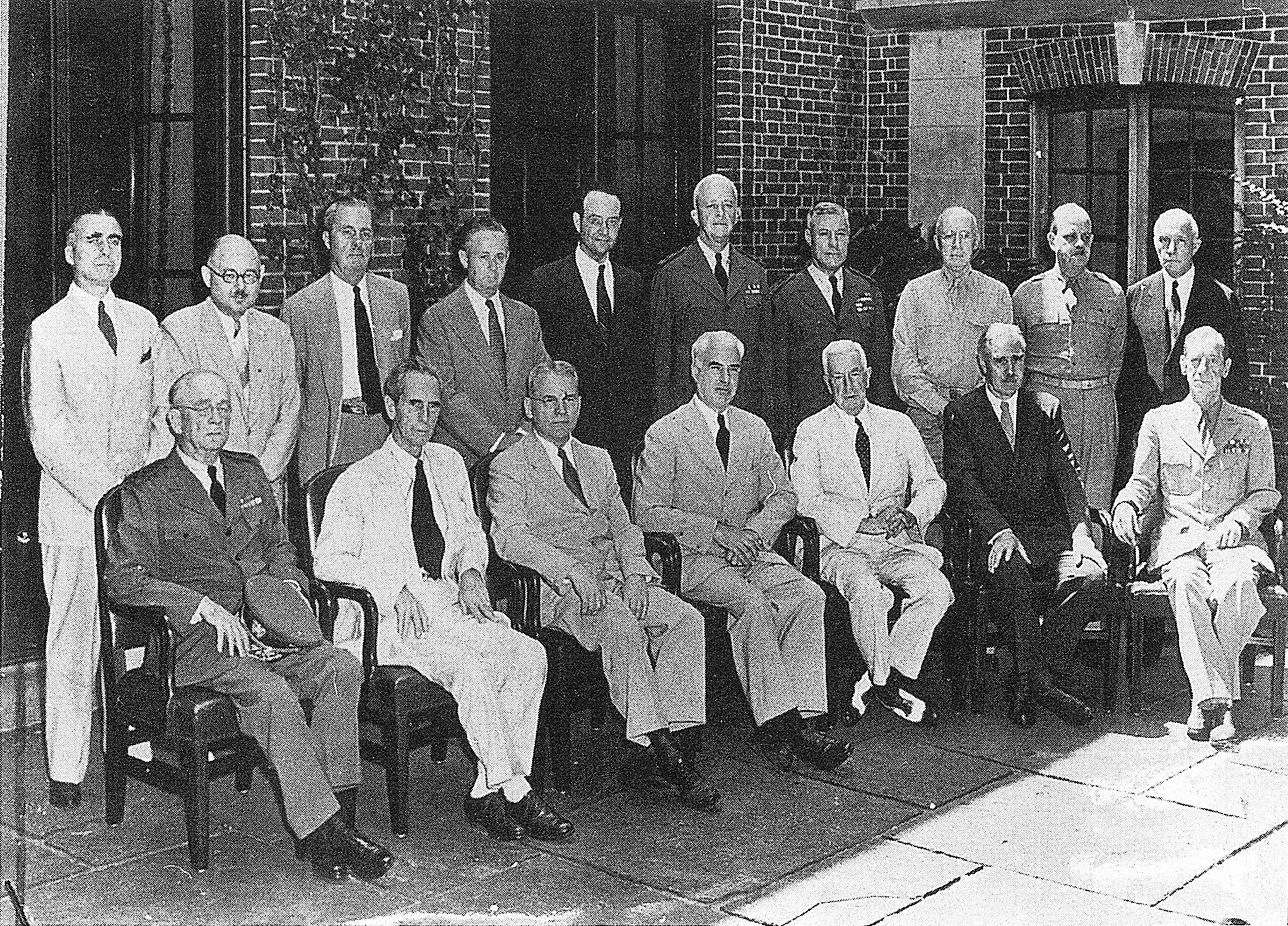 Members of the American delegation to the Dumbarton Oaks Conversations in front of the Music Room, 19 August 1944