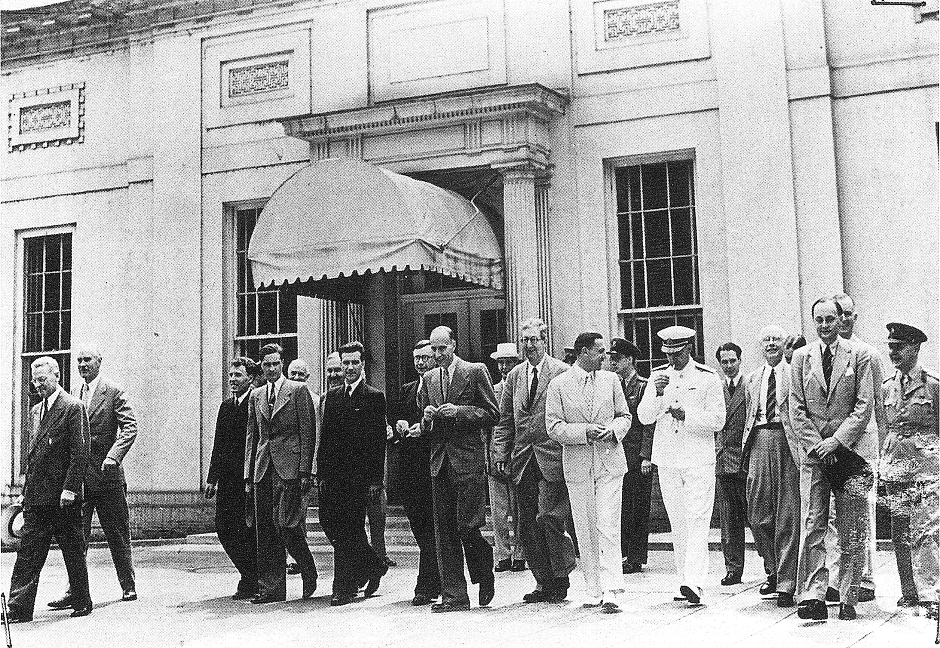 British, Soviet, and American delegates to the Dumbarton Oaks Conversations leave the White House after calling on President Franklin D. Roosevelt, 28 August 1944