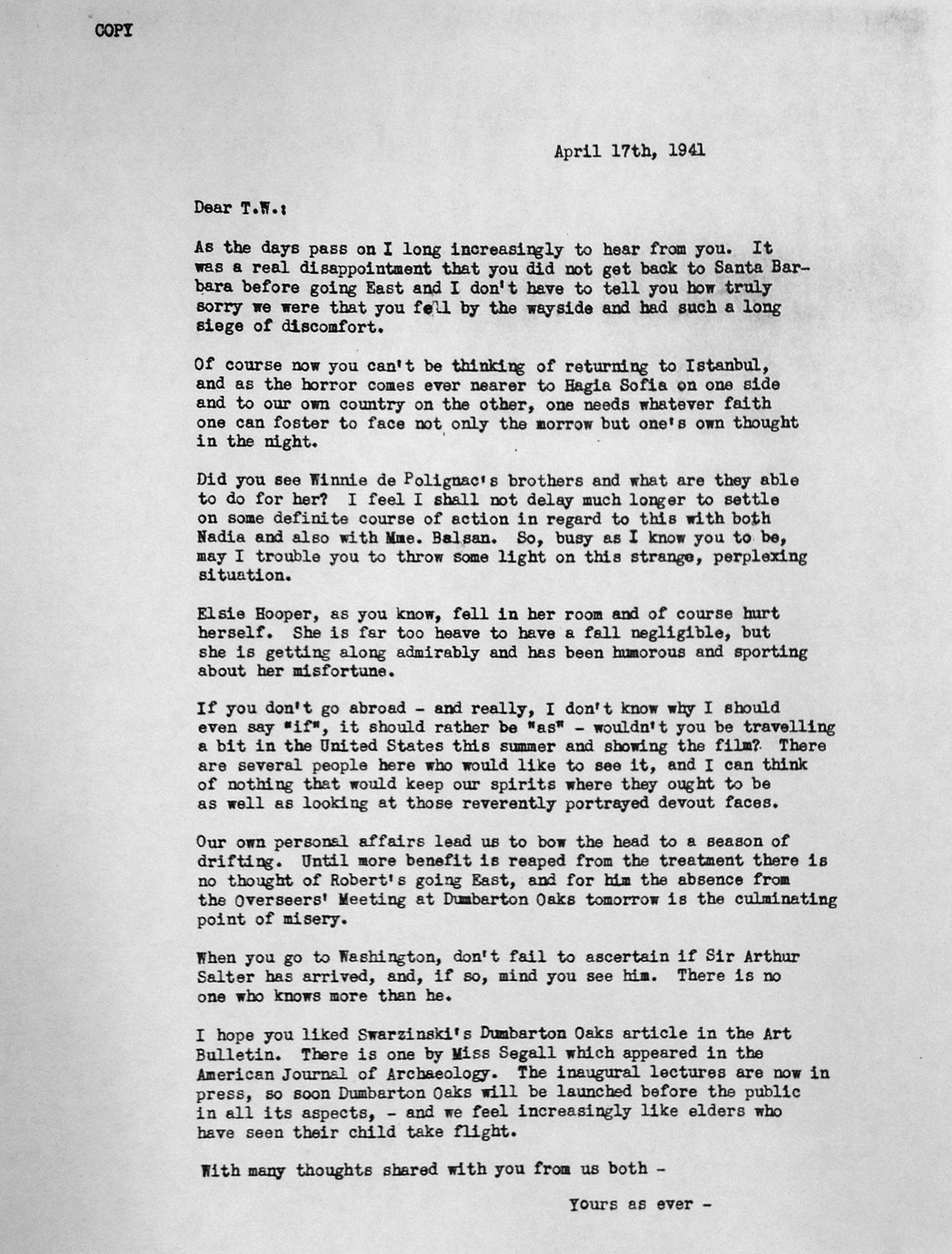Mildred Bliss to Thomas Whittemore APril 17th, 1941