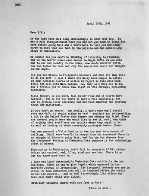 Letter from Mildred Bliss to Thomas Whittemore, April 17, 1941