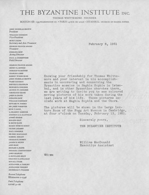 Invitation from the Byzantine Institute, February 8, 1951