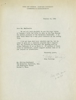 Letter from John Coolidge to William MacDonald, January 15, 1951