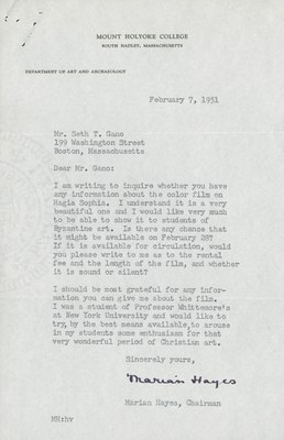 Letter from Marian Hayes to Seth Gano, February 7, 1951