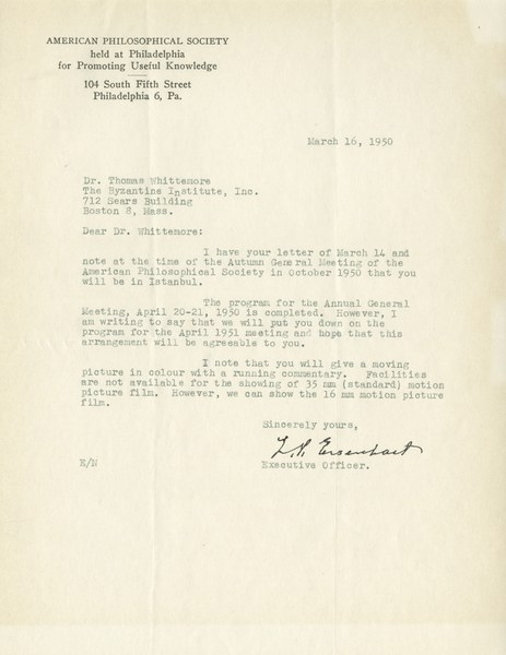 Letter from the American Philosophical Society to Thomas Whittemore, March 16, 1950