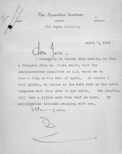 Letter from Thomas Whittemore to John Thacher, April 7, 1943