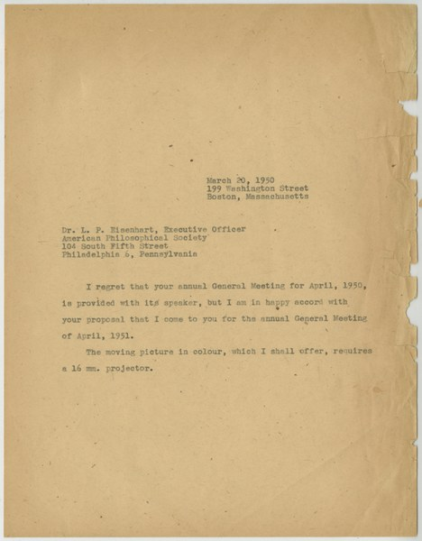 Letter from Thomas Whittemore to L. P. Eisenhart, March 20, 1950