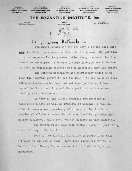 Letter from Thomas Whittemore to Mildred Bliss, July 3, 1941