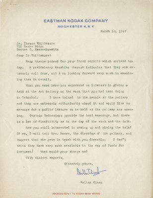 Letter from Walter Clark to Thomas Whittemore, March 18, 1947