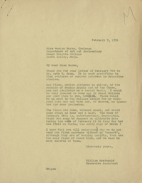 Letter from William MacDonald to Marian Hayes, February 9, 1951