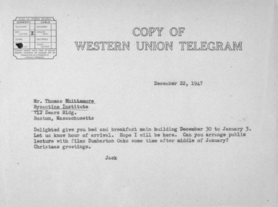 Telegram from John Thacher to Thomas Whittemore, December 22, 1947
