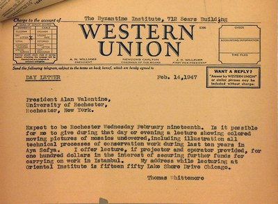 Telegram from Thomas Whittemore to Alan Valentine, February 14, 1947