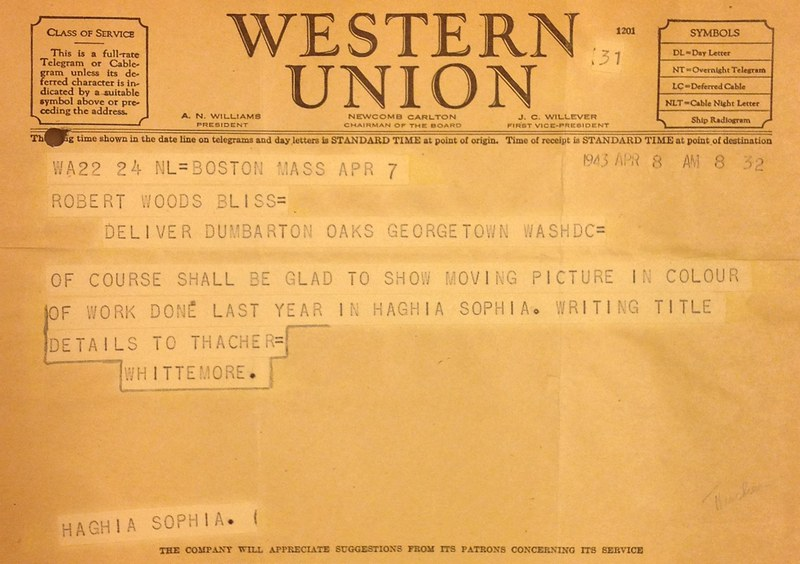 Telegram from Thomas Whittemore to Robert Bliss, April 8, 1943