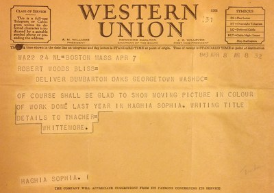 Telegram from Thomas Whittemore to Robert Bliss, April 8, 1943