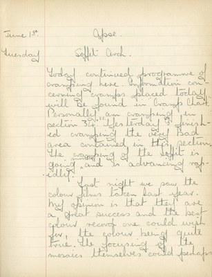 William John Gregory: Notebook Entry for June 1, 1937