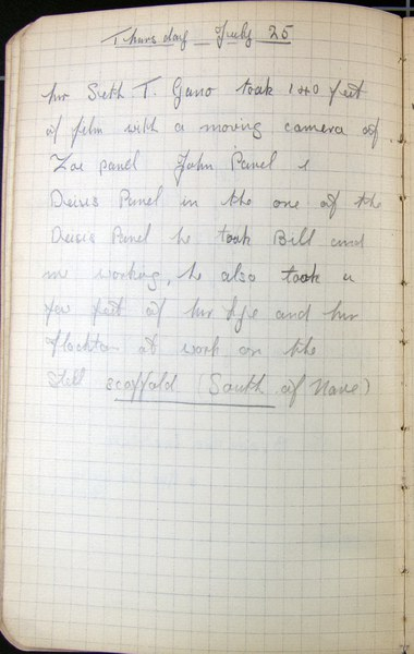 Alec T. White: Notebook Entry for July 25, 1935