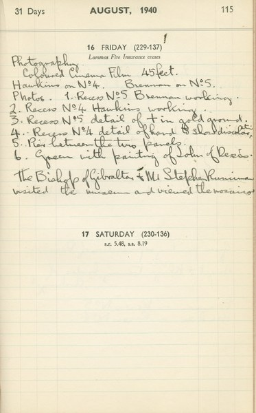 Ernest Hawkins (?): Notebook Entry for August 16, 1940