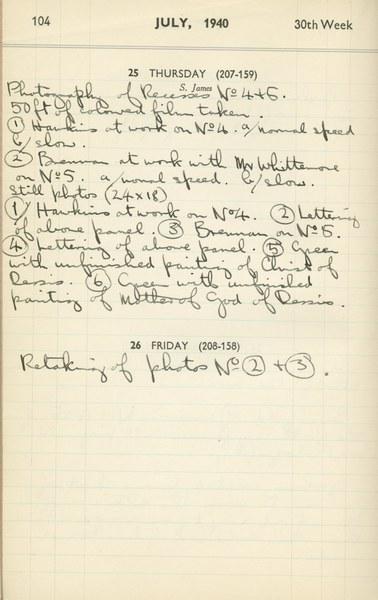 Ernest Hawkins (?): Notebook Entry for July 25, 1940