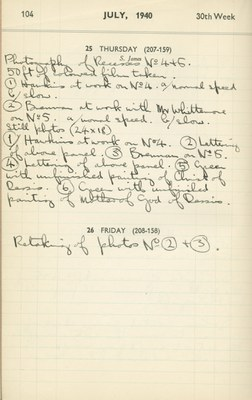 Ernest Hawkins (?): Notebook Entry for July 25, 1940