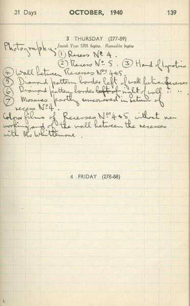 Ernest Hawkins (?): Notebook Entry for October 3, 1940