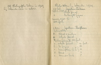 Ernest Hawkins: List of Photographs and Films Taken in 1949