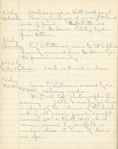 Ernest Hawkins: Notebook Entry for July 2 - 7, 1947