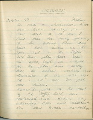 Richard A. Gregory: Notebook Entry for October 9, 1936