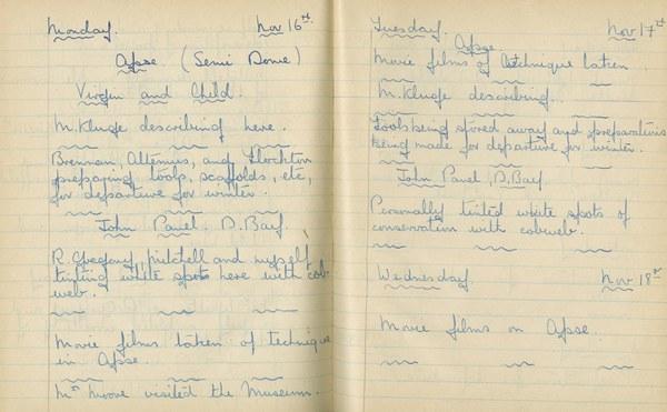 William John Gregory: Notebook Entry for November 16 - 18, 1936