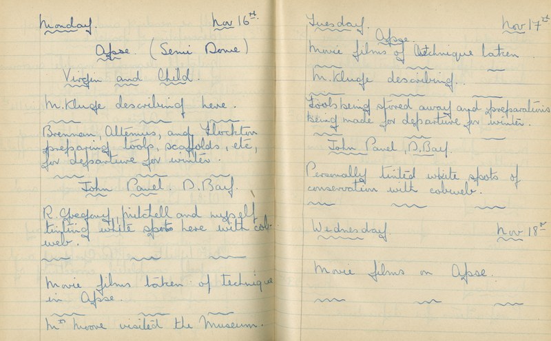 William John Gregory: Notebook Entry for November 16 - 18, 1936