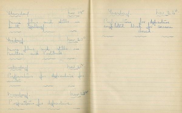William John Gregory: Notebook Entry for November 19 - 24, 1936