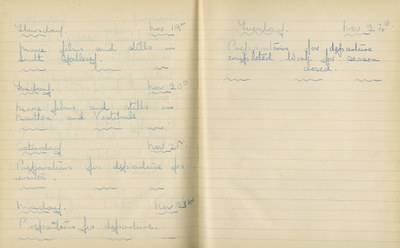 William John Gregory: Notebook Entry for November 19 - 24, 1936