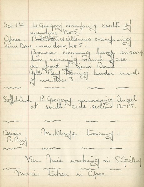 William John Gregory: Notebook Entry for October 1, 1937