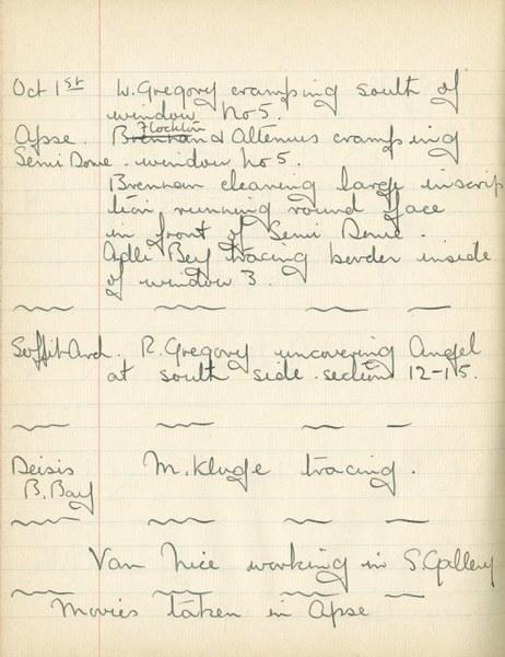 William John Gregory: Notebook Entry for October 1, 1937