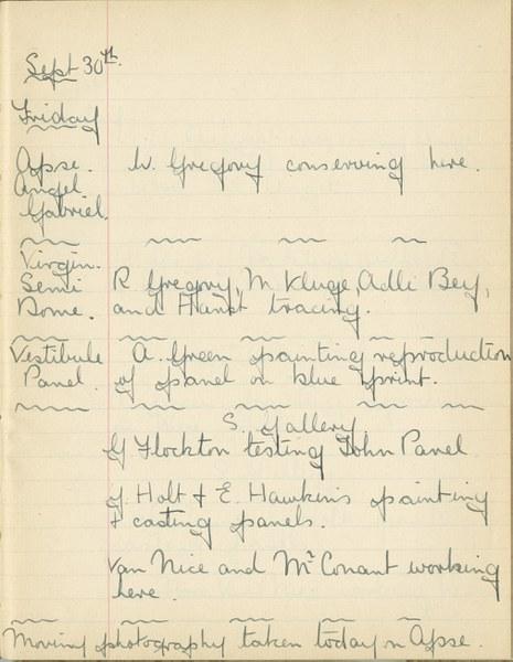 William John Gregory: Notebook Entry for September 30, 1938