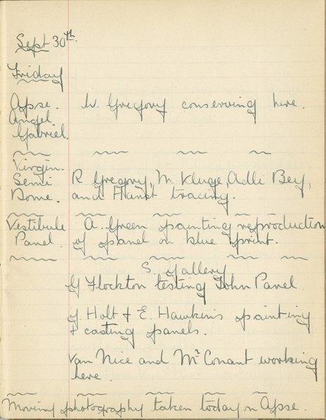 William John Gregory: Notebook Entry for September 30, 1938