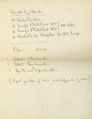 Ernest Hawkins: List of Equipment for Iskender